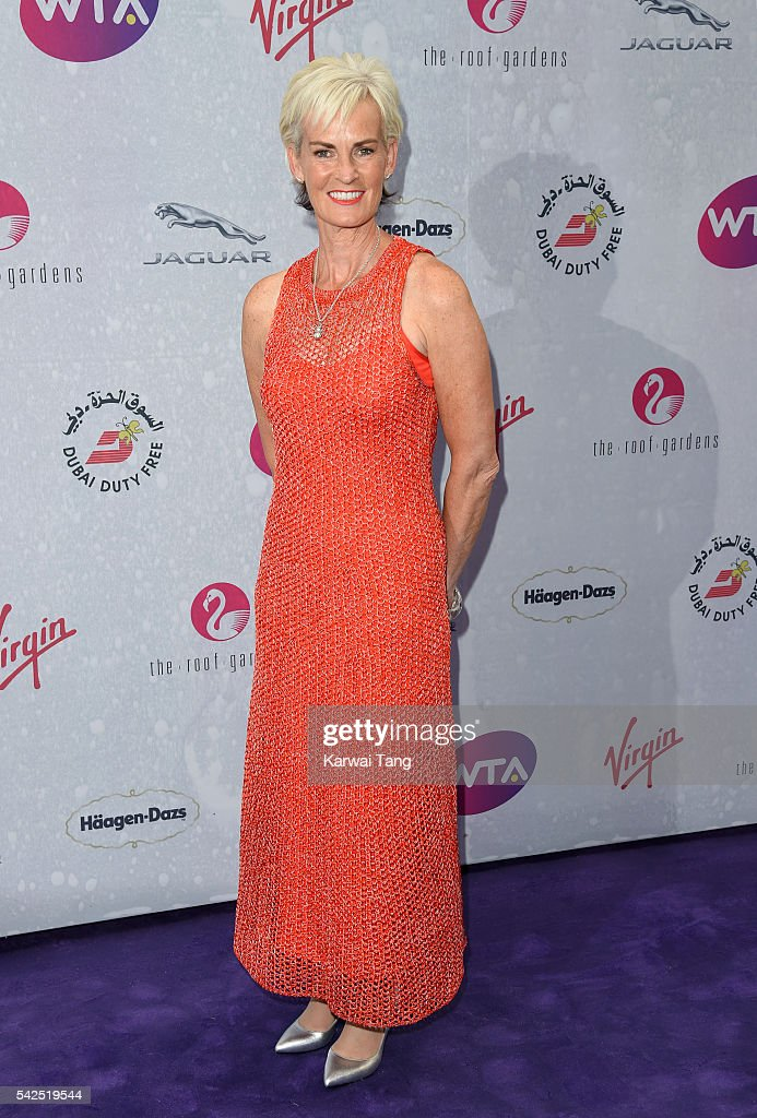 Judy Murray arrives for the WTA PreWimbledon Party at Kensington Roof Gardens on June 23 2016 in London England