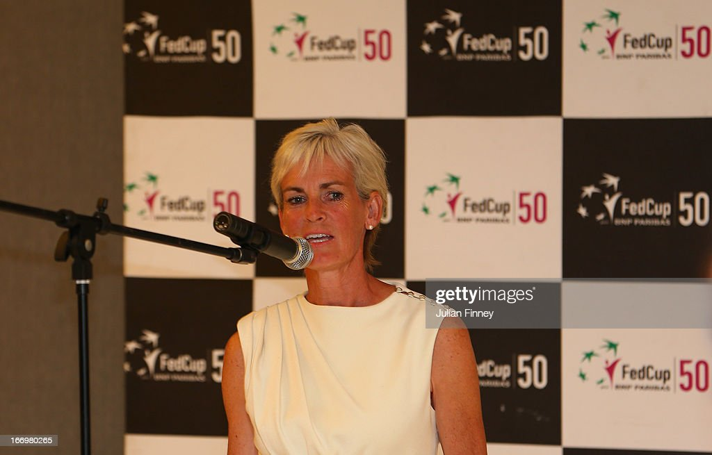 Judy Murray, captain of Great Britain makes a speech at the team dinner during previews ahead of the Fed Cup World Group Two Play-Offs between Argentina and Great Britain at Parque Roca on April 18, 2013 in Buenos Aires, Argentina.