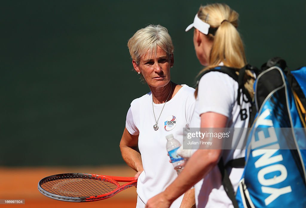 Judy Murray, captain of Great Britain talks with Elena Baltacha of Great Britain during previews ahead of the Fed Cup World Group Two Play-Offs between Argentina and Great Britain at Parque Roca on April 19, 2013 in Buenos Aires, Argentina.