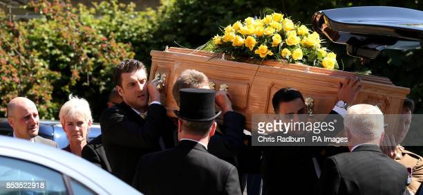 Judy Murray follows the coffin of former Tennis player Elena Baltacha as it is carried into St Johns Church in Ipswich Suffolk for her funeral service