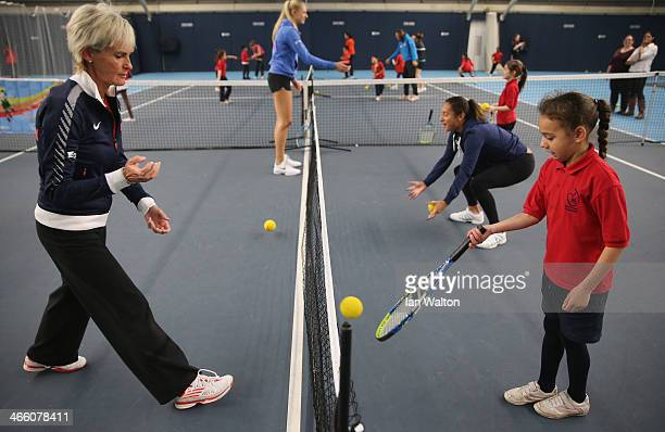 Judy Murray helps at a childrens training session at the National Tennis Centre on January 31 2014 in London England