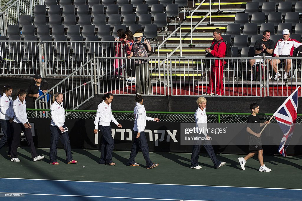 <a gi-track='captionPersonalityLinkClicked' href=/galleries/search?phrase=Judy+Murray&family=editorial&specificpeople=582324 ng-click='$event.stopPropagation()'>Judy Murray</a> leads the Great Britain team at the opening event after the tie between Great Britain and Bosnia and Herzegovina during the Fed Cup Europe/Africa Group One fixture at the Municipal Tennis Club on February 7, 2013 in Eilat, Israel.