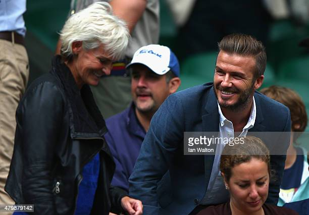 Judy Murray mother of Andy Murray and David Beckham attend day nine of the Wimbledon Lawn Tennis Championships at the All England Lawn Tennis and...