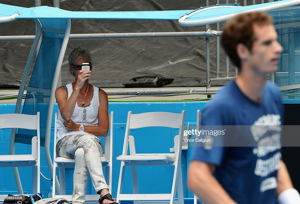 Judy Murray, mother of Andy Murray of Great Britain looks on in a practice session during day nine of the 2013 Australian Open at Melbourne Park on January 22, 2013 in Melbourne, Australia.
