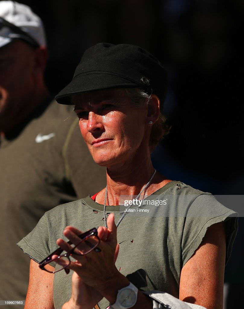Judy Murray, mother of Andy Murray of Great Britain watches his Quarterfinal match against Jeremy Chardy of France during day ten of the 2013 Australian Open at Melbourne Park on January 23, 2013 in Melbourne, Australia.