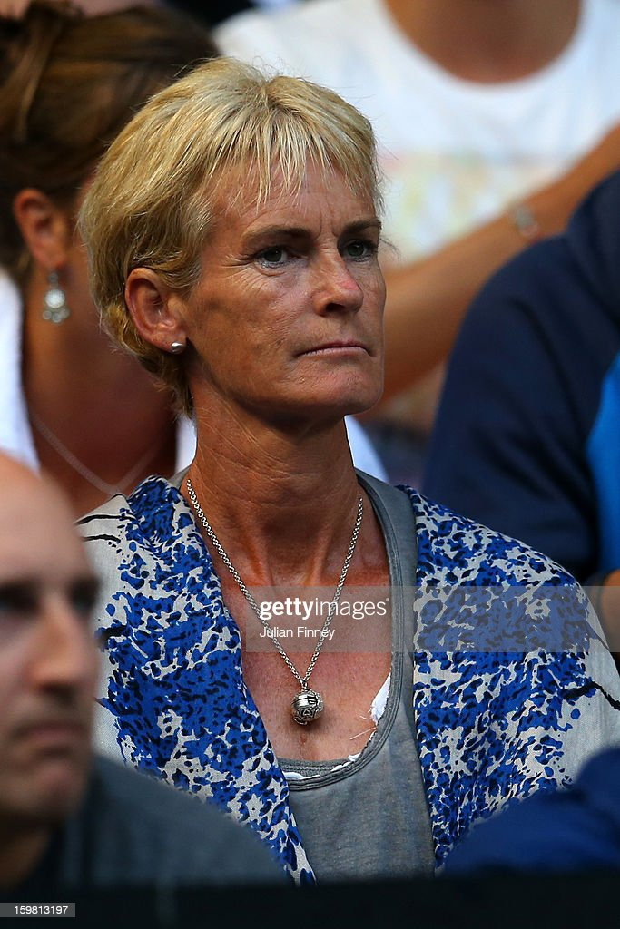 Judy Murray, mother of Andy Murray of Great Britain, watches the men's fourth round match between Andy Murray of Great Britain and Gilles Simon of France during day eight of the 2013 Australian Open at Melbourne Park on January 21, 2013 in Melbourne, Australia.
