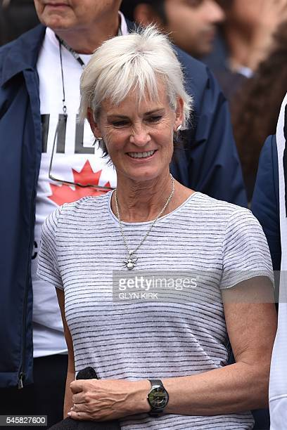 Judy Murray the mother of Britain's Andy Murray waits for the start of the men's singles final match on the last day of the 2016 Wimbledon...