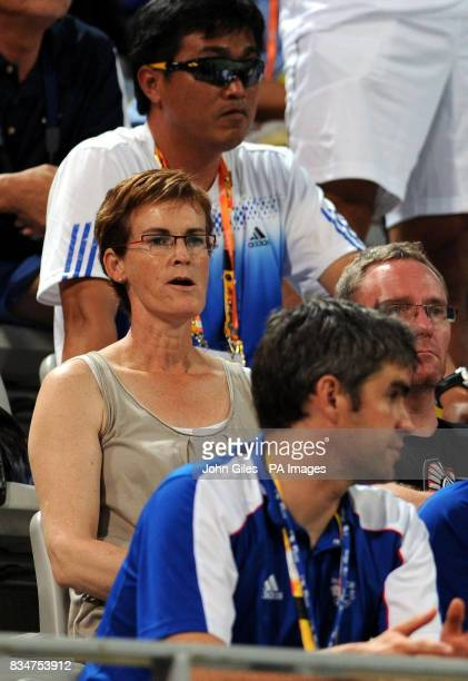 Judy Murray the mother of Great Britan's Andy Murray watches him in his Singles Tournament in the 2008 Beijing Olympic Games in Beijing China
