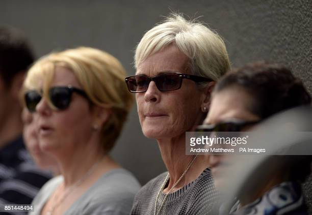 Judy Murray watches Great Britain's Jamie Murray in action during his double's match with partner Australia's John Peers against Austria's Jurgen...