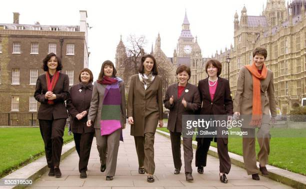 Judy Owen outside the Houses of Parliament with a group of trouser wearing female MP's after she won her sexual discrimination case brought against...