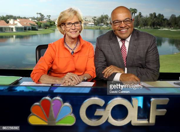 Judy Rankin the Golf Channel Analyst and Mike Tirico the Golf Channel Host on set during the second round of the 2017 ANA Inspiration held on the...
