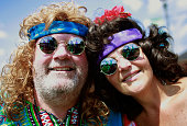 Judy Remo and John Micik wait to attend the concert marking the 40th anniversary of the Woodstock music festival August 15 2009 in Bethel New York On...