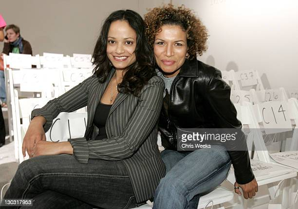 Judy Reyes and Lucia Rijker during MercedesBenz Fall 2005 Fashion Week at Smashbox Studios Kevan Hall Front Row at Smashbox Studios in Culver City...
