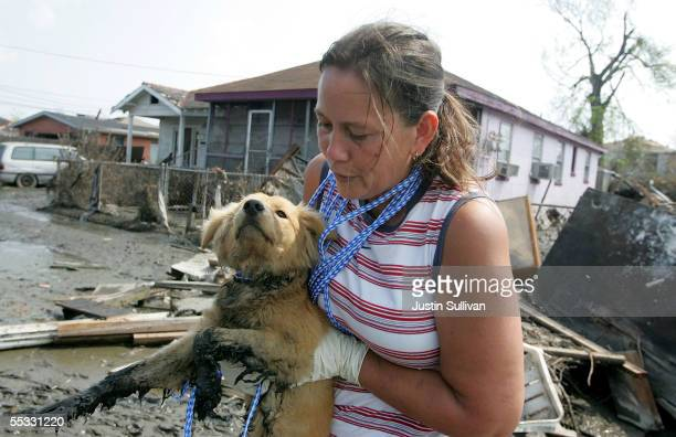 Judy Sluigen carries a dog that was found wandering the streets September 10 2005 in New Orleans Louisiana Volunteers have found thousands of pets...