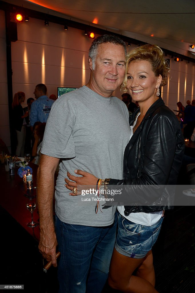 Juergen B Harder and Franziska van Almsick attend the 'Arqueonautas Presents Kevin Coster Music Meets Fashion' at Spindler Klatt on July 8 2014 in...