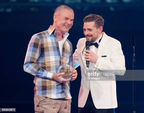 Juergen Domian and Moderator Klaas Heufer Umlauf wins the 1Live Krone during the 1Live Krone at Jahrhunderthalle on December 1 2016 in Bochum Germany