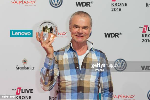 Juergen Domian celebrate his award during the 1Live Krone at Jahrhunderthalle on December 1 2016 in Bochum Germany
