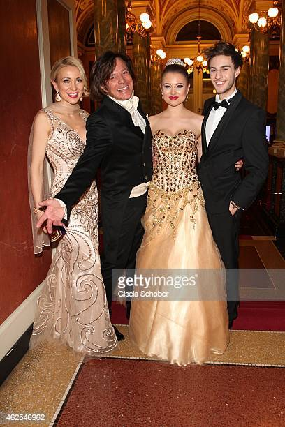 Juergen Drews and his wife Ramona and his daughter Joelina Drews and her boyfriend Marc Aurel Zeeb during the Semper Opera Ball 2015 at Semperoper on...