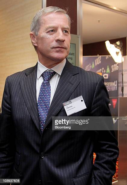 Juergen Fitschen member of the management board of Deutsche Bank AG walks to a meeting at the Banks in Crisis conference in Frankfurt Germany on...