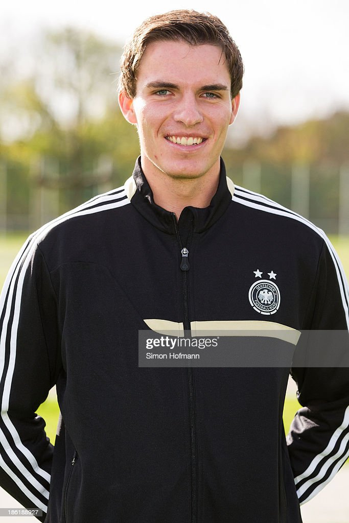 Juergen Hinderhofer of Germany poses during the German Girls U15 national team presentation at Wiener Ring training ground on October 29, 2013 in Offenbach, Germany.