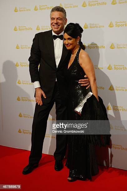 Juergen Hingsen poses with his partner Francesca Elstermeier on his arrival at the Ball des Sports 2014 at RheinMainHalle on February 8 2014 in...