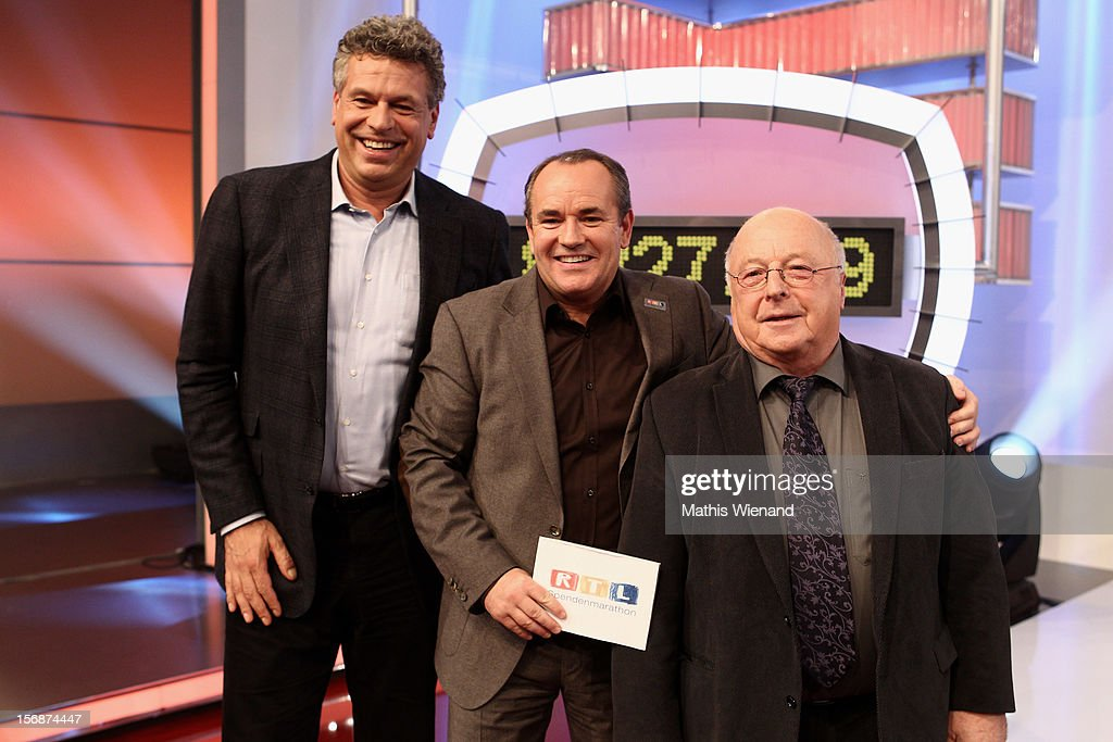 Juergen Hingsen, Wolfgang Kons and Norbert Bluehm attend the 'RTL Spendenmarathon' at RTL Studios on November 23, 2012 in Cologne, Germany.