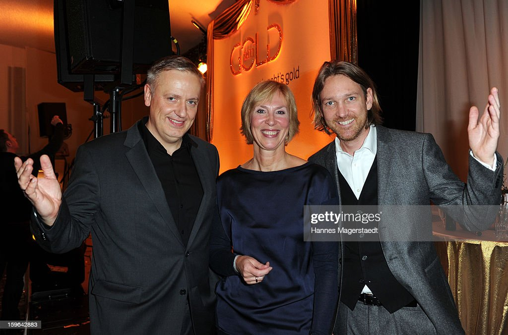 Juergen Hoerner, Gaby Papenburg and Marc Rasmus attend the Sat.1 GOLD TV Channel Launch at the Filmcasino on January 17, 2013 in Munich, Germany.