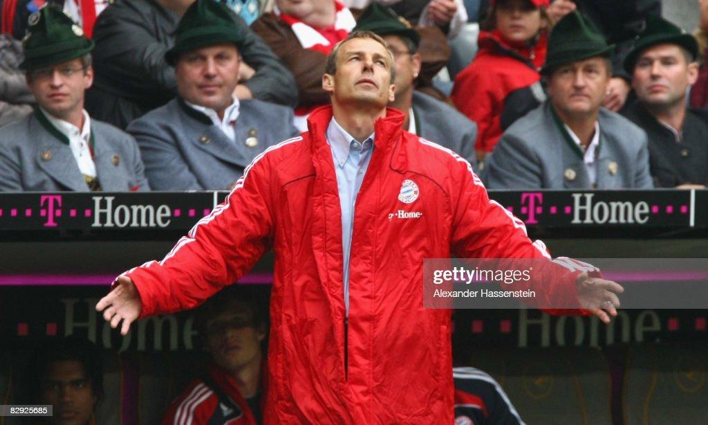 Juergen Klinsmann head coach of Bayern Muenchen reacts during the Bundesliga match between FC Bayern Muenchen and Werder Bremen at the Allianz Arena...