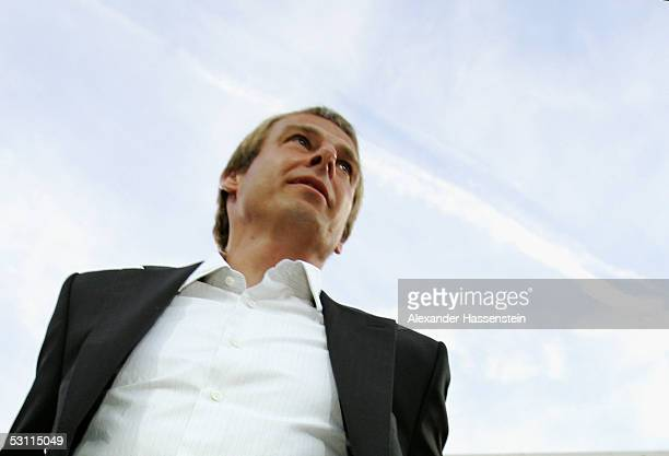 Juergen Klinsmann headcoach of Germany looks on during the Confederations Cup 2005 match between Argentina and Germany at the Frankenstadium on June...