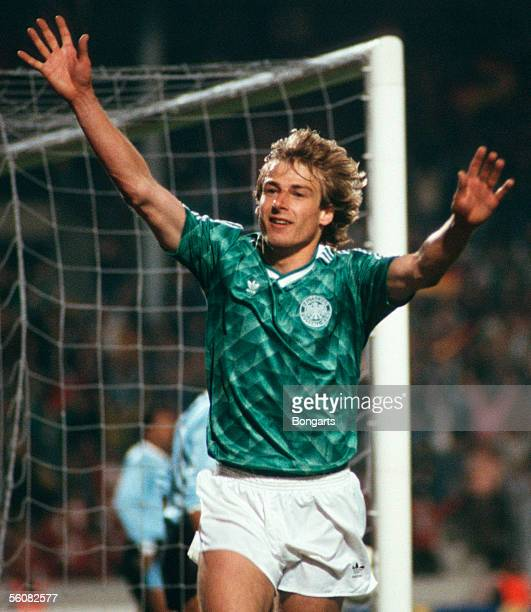 Juergen Klinsmann of Germany celebrate after his goal during the friendly match between Germany and Uruguary on April 25 1990 in Stuttgart Germany