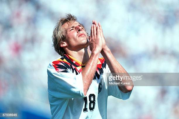 Juergen Klinsmann of Germany gestures during the FIFA World Cup group c match between Germany and South Korea on June 27 1994 in Dallas United States