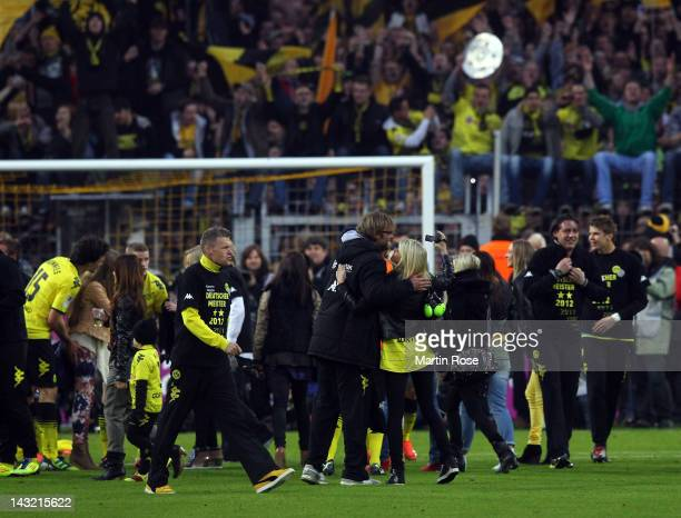 Juergen Klopp head coach of Dortmund celebrate with his wife Ulla after the Bundesliga match between Borussia Dortmund and Borussia Moenchengladbach...