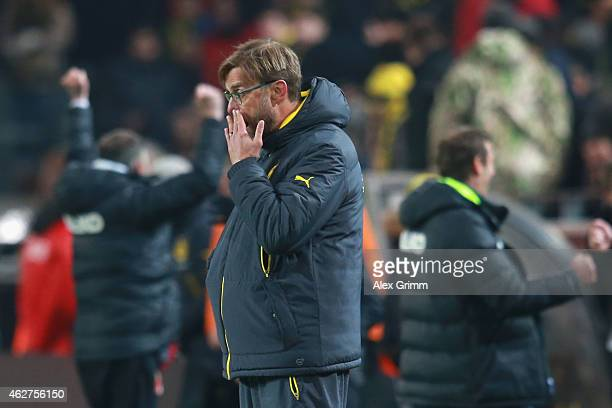 Juergen Klopp head coach of Dortmund reacts after the Bundesliga match between Borussia Dortmund and FC Augsburg at Signal Iduna Park on February 4...