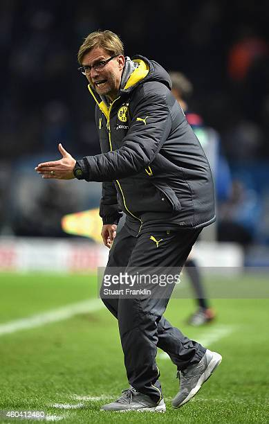 Juergen Klopp head coach of Dortmund reacts during the Bundesliga match between Hertha BSC and Borussia Dortmund at Olympiastadion on December 13...