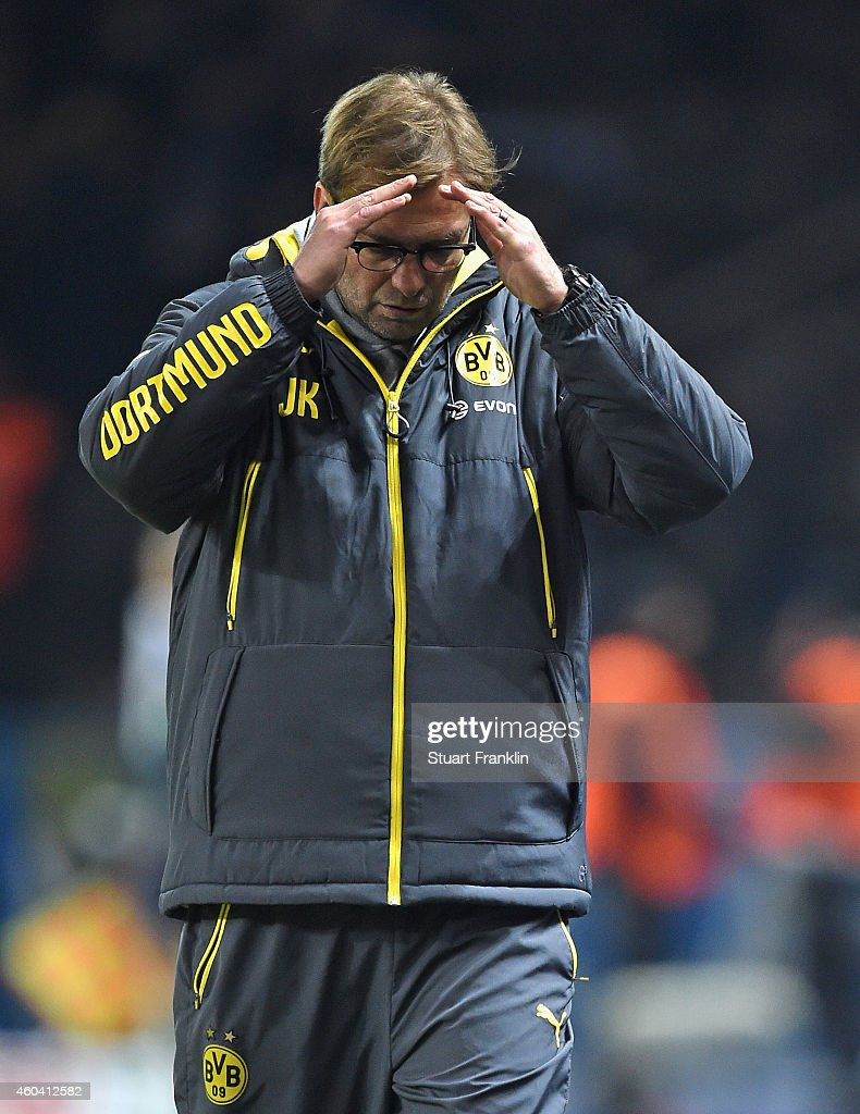 Juergen Klopp, head coach of Dortmund reacts during the Bundesliga match between Hertha BSC and Borussia Dortmund at Olympiastadion on December 13, 2014 in Berlin, Germany.