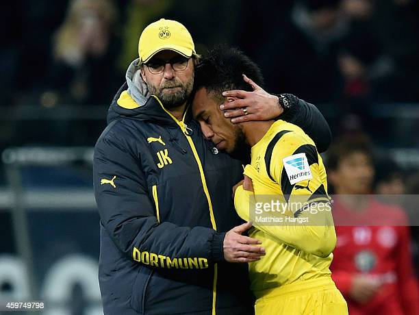 Juergen Klopp of Borussia Dortmund and PierreEmerick Aubameyang look dejected after the Bundesliga match between Eintracht Frankfurt and Borussia...