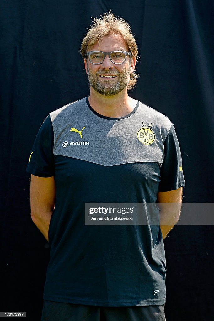 <a gi-track='captionPersonalityLinkClicked' href=/galleries/search?phrase=Juergen+Klopp&family=editorial&specificpeople=739056 ng-click='$event.stopPropagation()'>Juergen Klopp</a> poses during the Borussia Dortmund Team Presentation at Brackel Training Ground on July 9, 2013 in Dortmund, Germany.