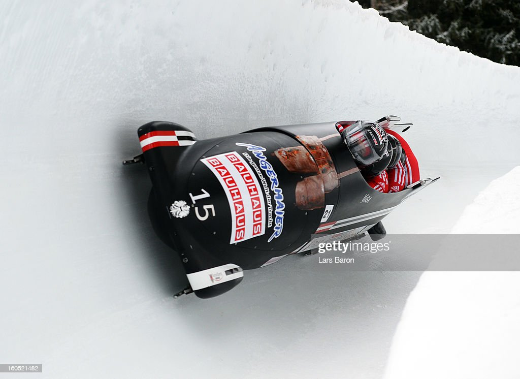 Juergen Loacker, Matthias Adolf, Markus Sammer and Martin Lachkovics of Austria compete during the Four Men Bobsleigh heat one of the IBSF Bob & Skeleton World Championship at Olympia Bob Run on February 2, 2013 in St Moritz, Switzerland.