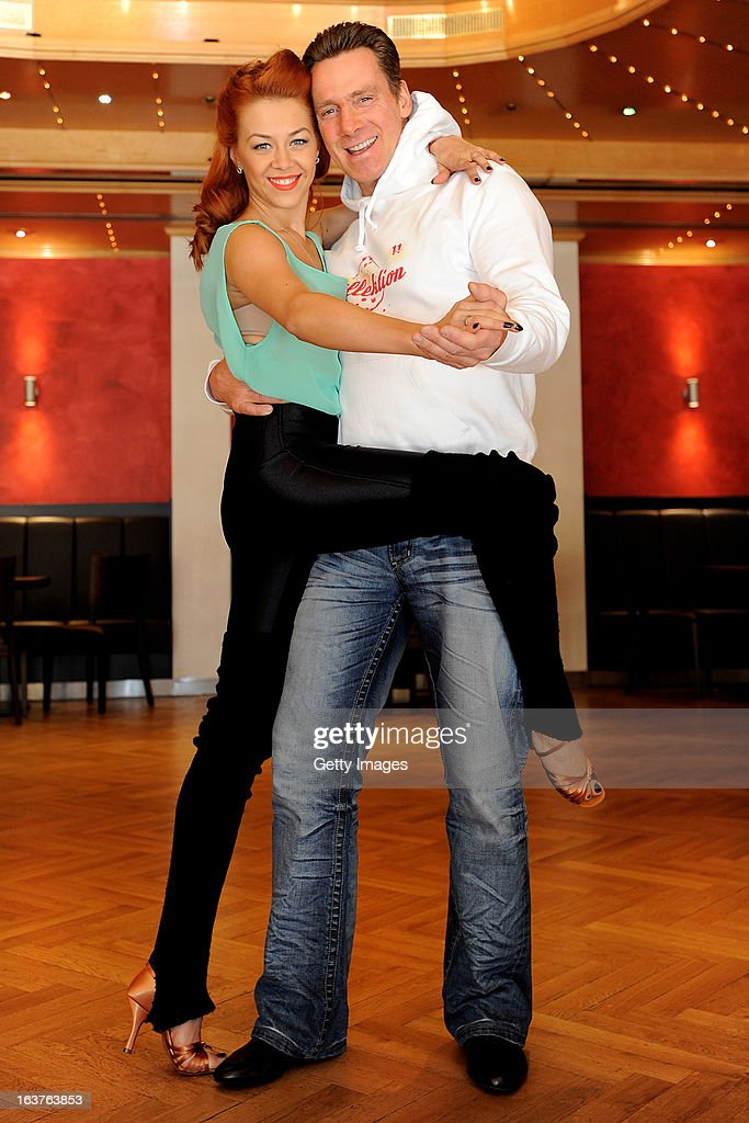 Juergen Milski and dancing partner Oana Nechiti attend a training lesson for the 'Let's Dance' RTL TV show at Tanzschule van Hasselt on March 15, 2013 in Cologne, Germany.