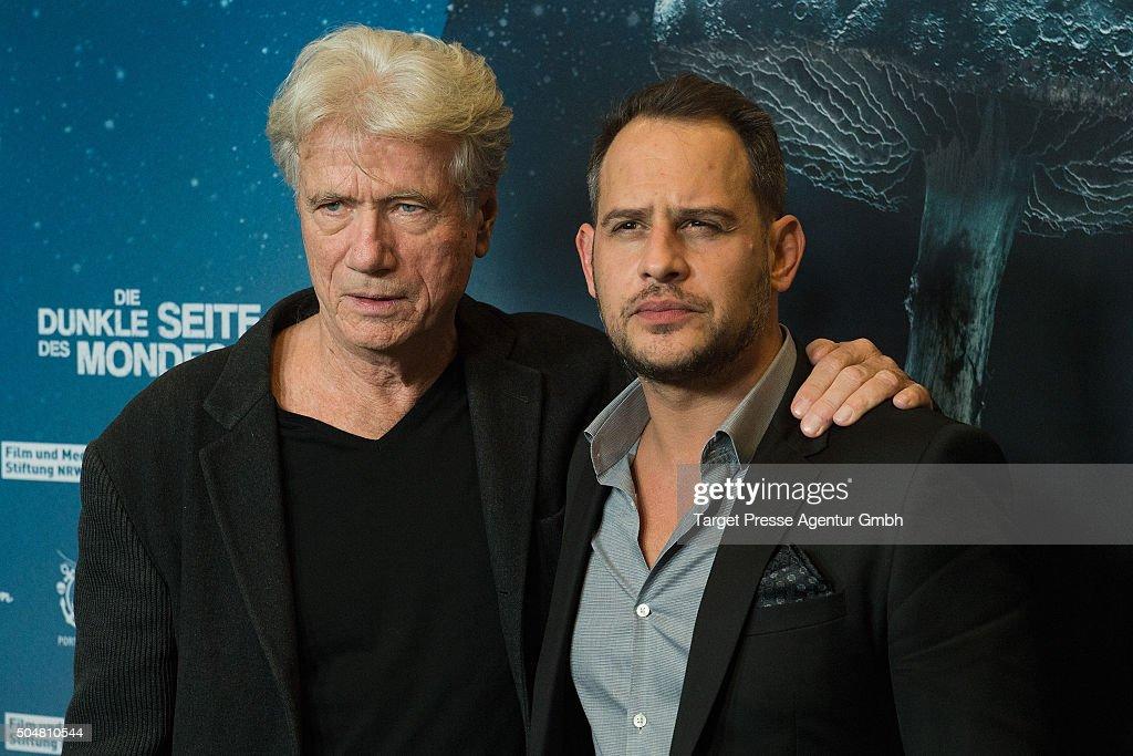 Juergen Prochnow and Moritz Bleibtreu attend the Berlin premiere for the film 'Die dunkle Seite des Mondes' at Kino in der Kulturbrauerei on January...