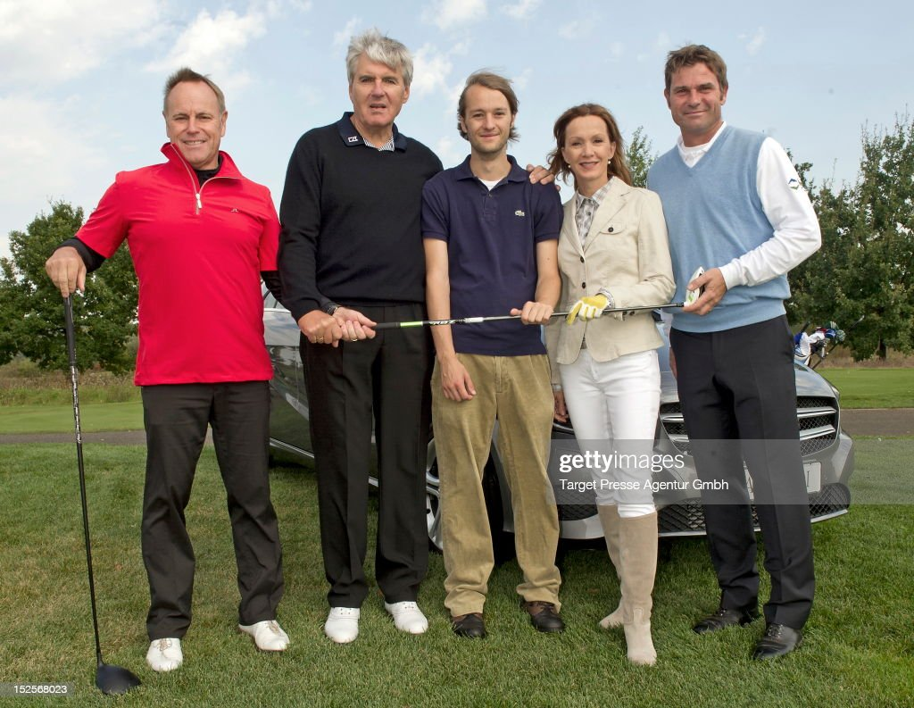 Juergen Roeber Walter Mueller Oscar Lauterbach Katja Flint and Sven Struever attend the 13th MercedesBenz Charity Cup to benefit the 'Deutsches...