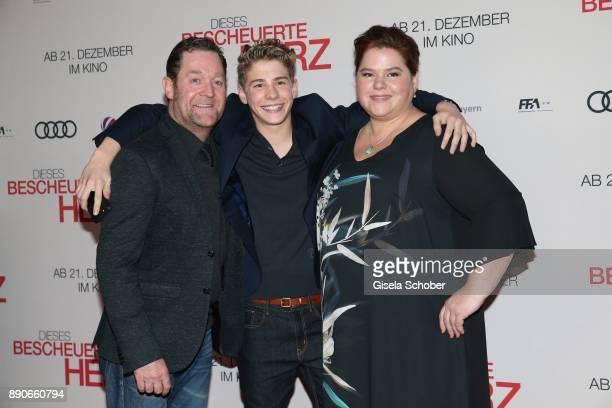 Juergen Tonkel Philip Noah Schwarz and Nadine Wrietz during the 'Dieses bescheuerte Herz' premiere at Mathaeser Filmpalast on December 11 2017 in...