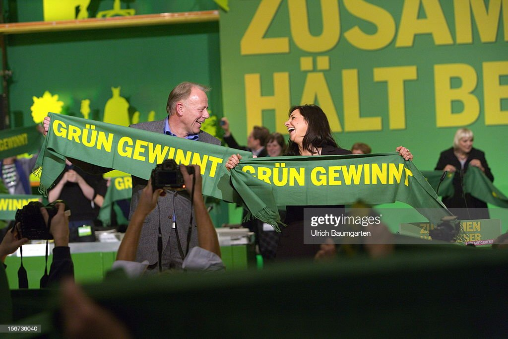 Juergen Trittin and Katrin Doering-Eckardt, leading candidates for the election 2013, during the Greens Party federal convention at Hannover Congress Centrum on November 17, 2012 in Hanover, Germany. Germany faces federal elections in 2013 and the Greens Party, which is Germany's third most popular party, could well become a government coalition partner.