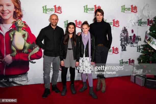 Juergen Vogel Aleyna Hila Obid Hedda Erlebach and Anja Kling attend the premiere of 'Hexe Lilli rettet Weihnachten' at Kino in der Kulturbrauerei on...