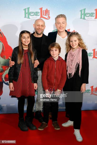 Juergen Vogel and Michael Mittermeier pose with Aleyna Hila Obid Claudio Magno and Hedda Erlebach at the premiere of 'Hexe Lilli rettet Weihnachten'...