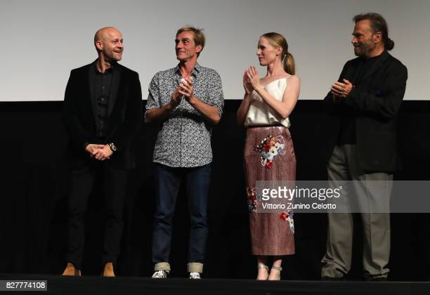 Juergen Vogel Andre Hennicke Susanne Wuest and Franco Nero attend 'Iceman' premiere during the 70th Locarno Film Festival on August 8 2017 in Locarno...