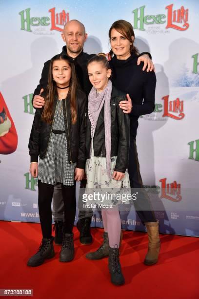 Juergen Vogel Anja Kling Hedda Erlebach and Aleyna Obid attend the premiere of 'Hexe Lilli rettet Weihnachten' at Kino in der Kulturbrauerei on...