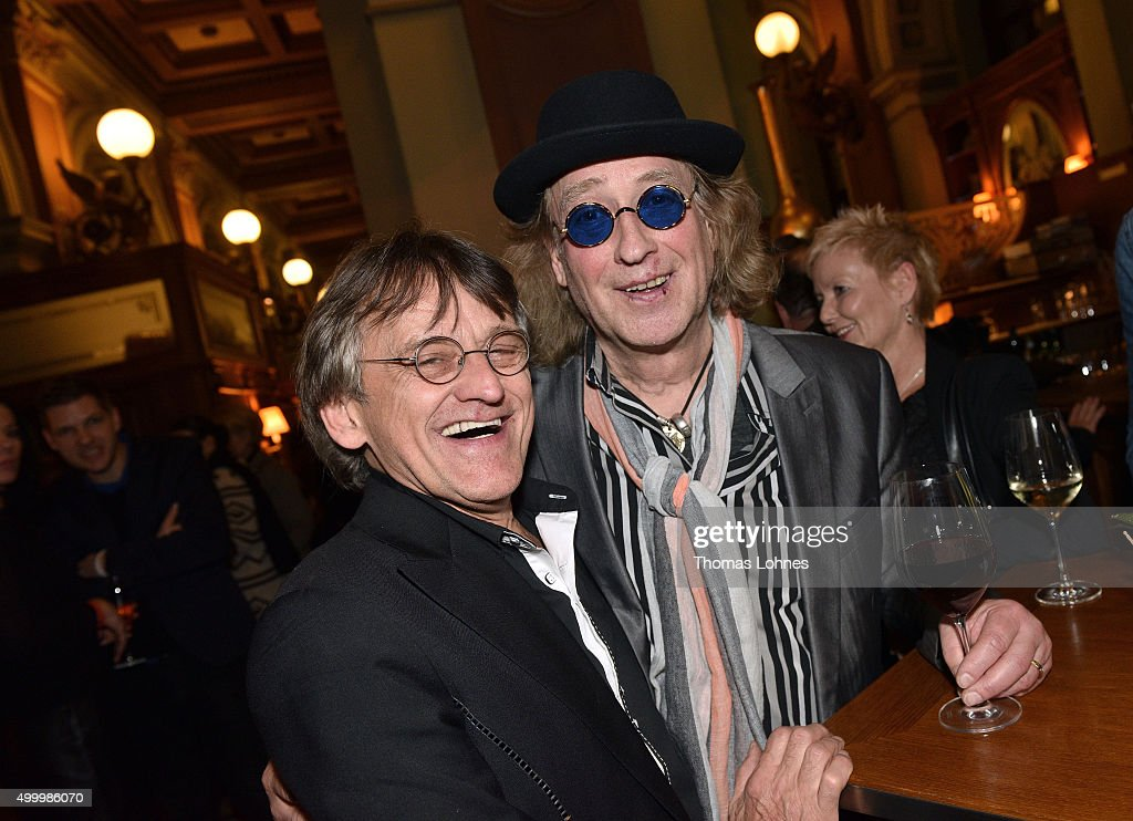 Juergen Zoellner (L) and Steffi Stephan (R) pictured during the after show party of the anniversary concert Rilke Projekt Live 'Dir zur Feier' at Alte Oper on December 4, 2015 in Frankfurt am Main, Germany. The anniversary concert was held on the occasion of the 140th birthday of Rainer Maria Rilke (1875 - 1926).