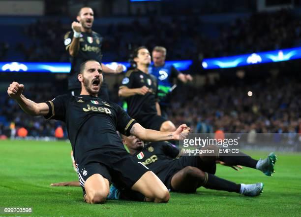 Juevntus' Leonardo Bonucci celebrates his sides win after the final whistle