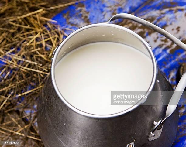 Jug of raw milk, close-up